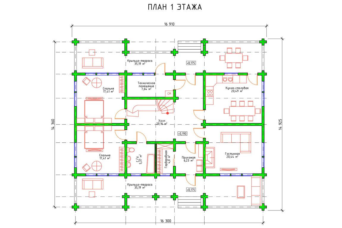 Планировка 1 этажа финского деревянного дома из клееного бруса