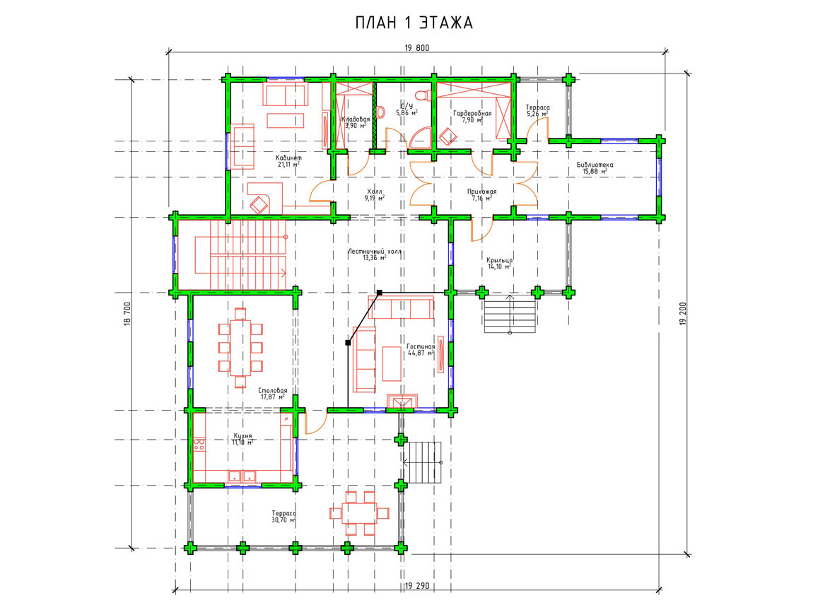 Планировка 1 этажа современного двухэтажного дома