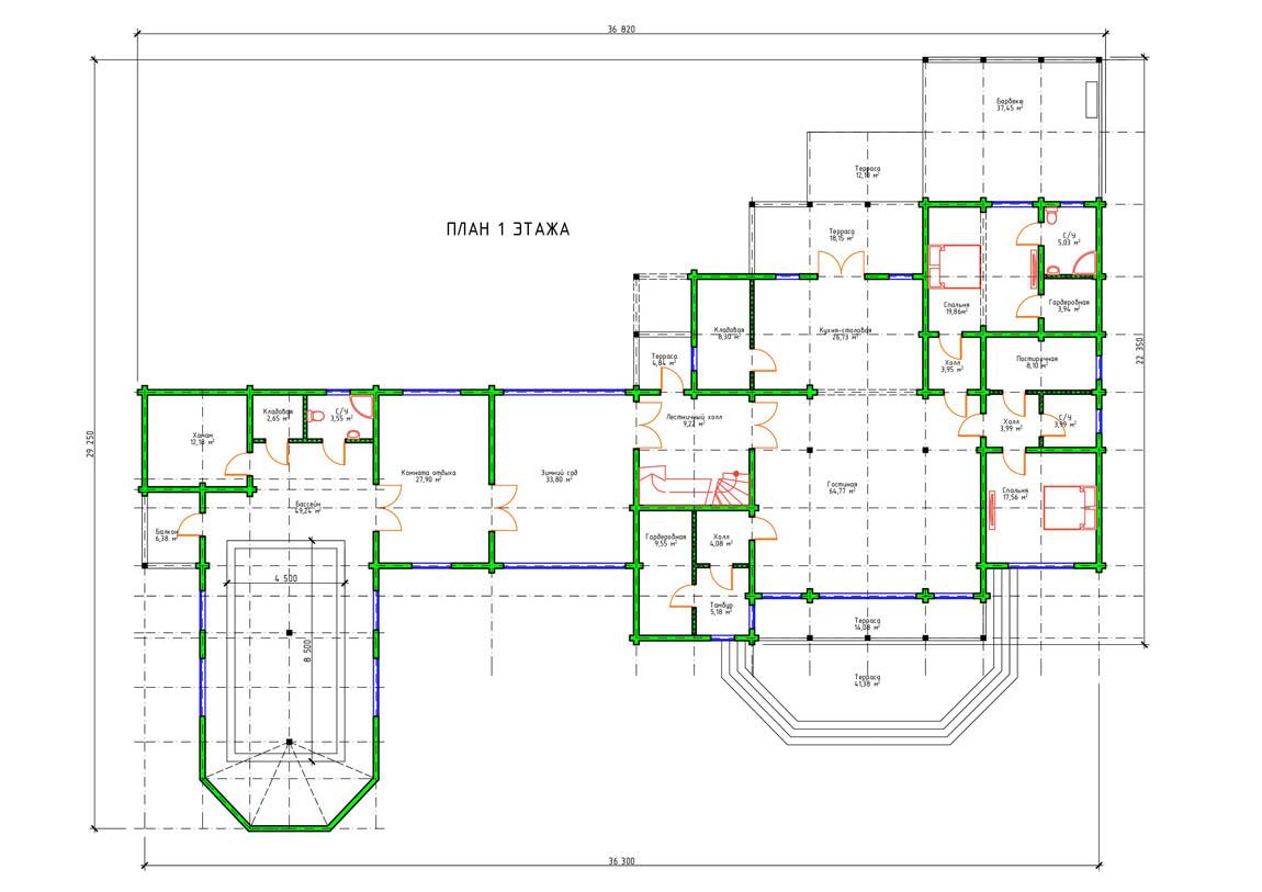 Планировка 1 этажа двухэтажного дома с террасой