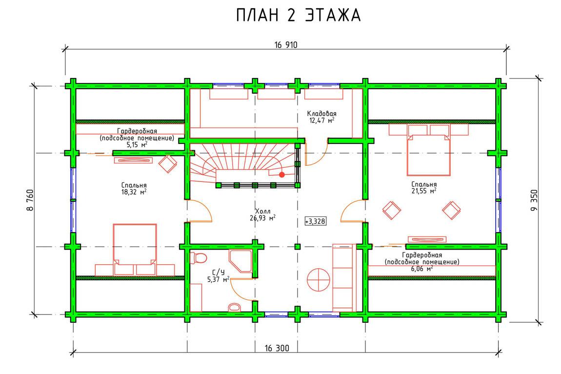 Планировка 2 этажа финского деревянного дома из клееного бруса