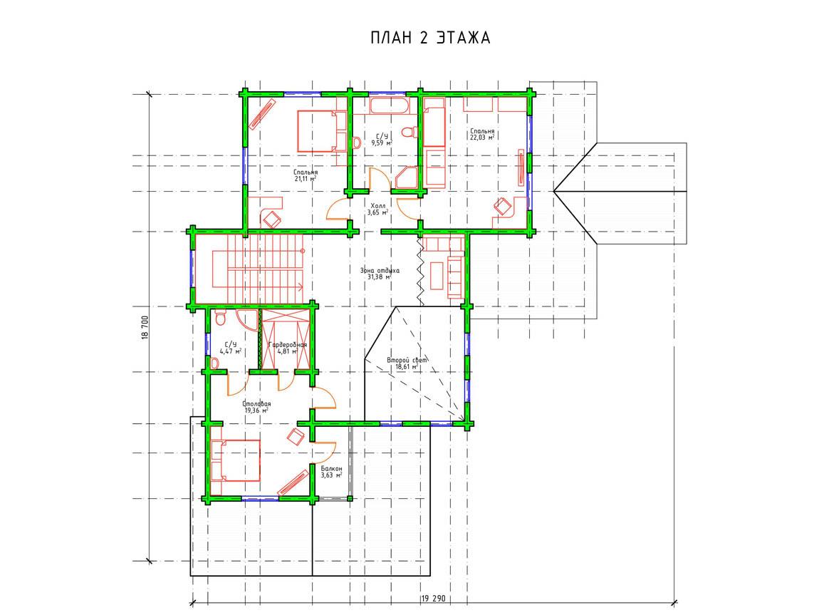 Планировка 2 этажа современного двухэтажного дома