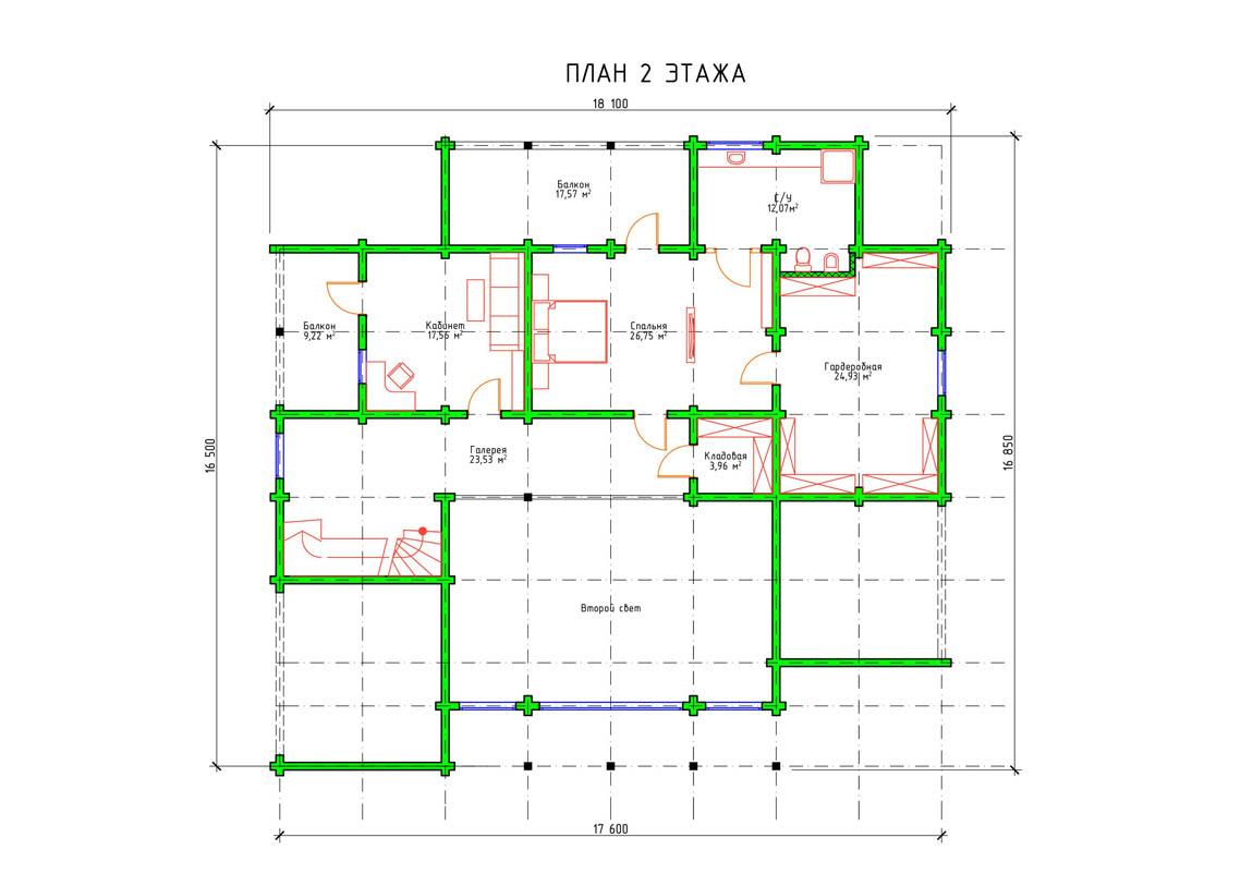 Планировка 2 этажа двухэтажного дома с террасой