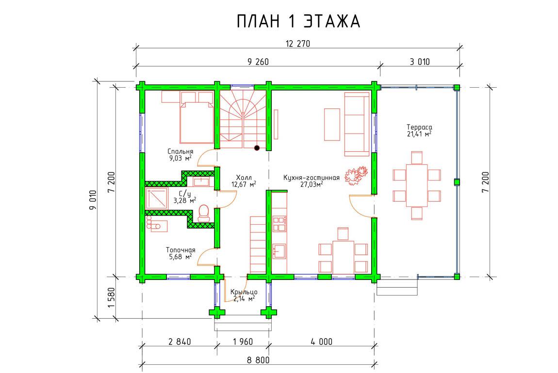 Планировка 1 этажа загородного дома с террасой