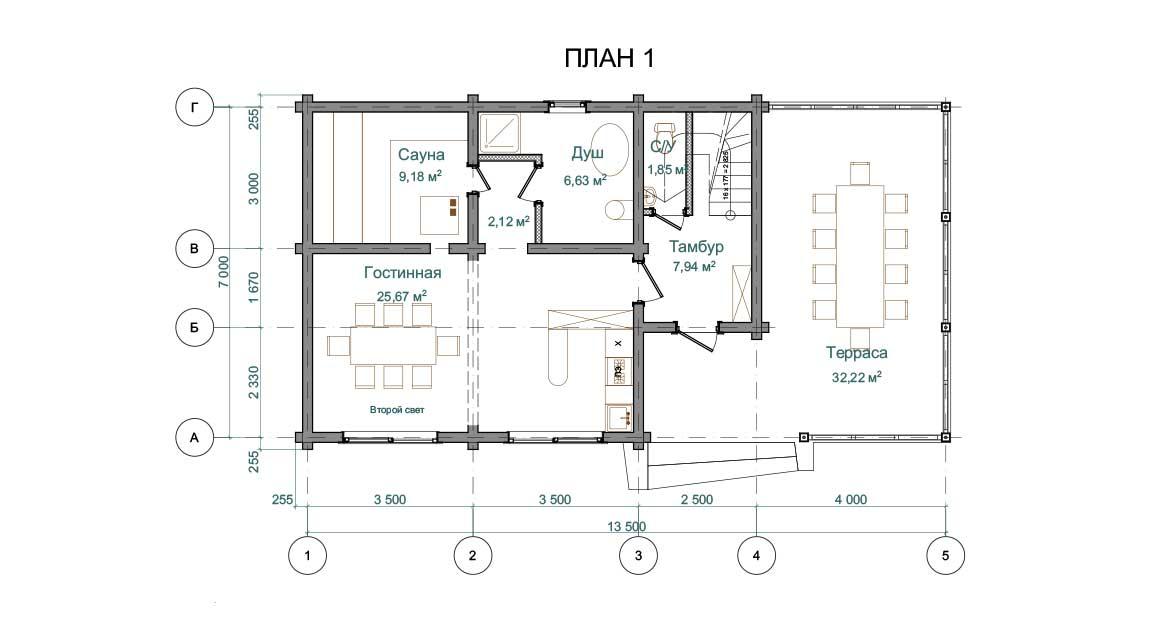 Планировка 1 этажа проекта бани с мансардой из бруса