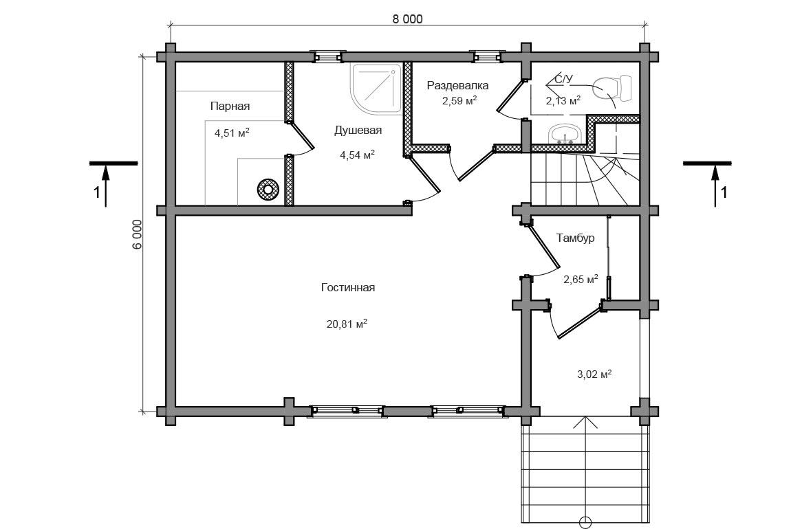 Планировка 1 этажа бани из сруба с мансардой