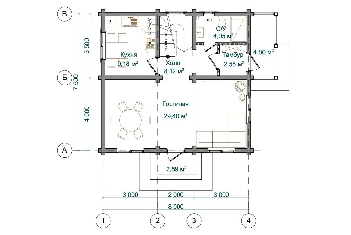 Планировка 1 этажа проекта дома 7 на 8 с мансардой из бруса