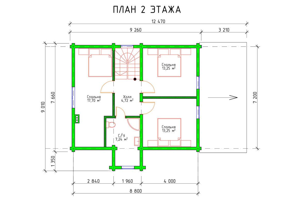 Планировка 2 этажа загородного дома с террасой