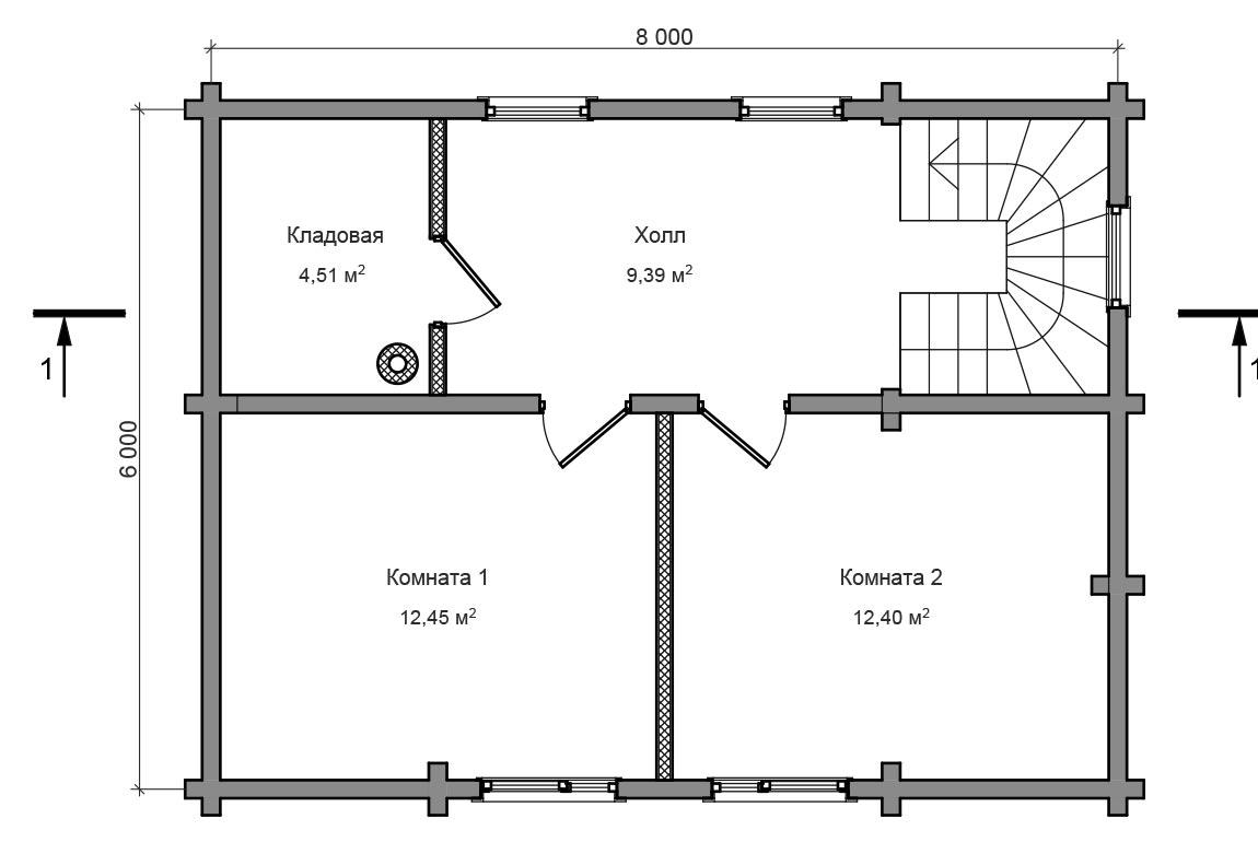 Планировка 2 этажа бани из сруба с мансардой