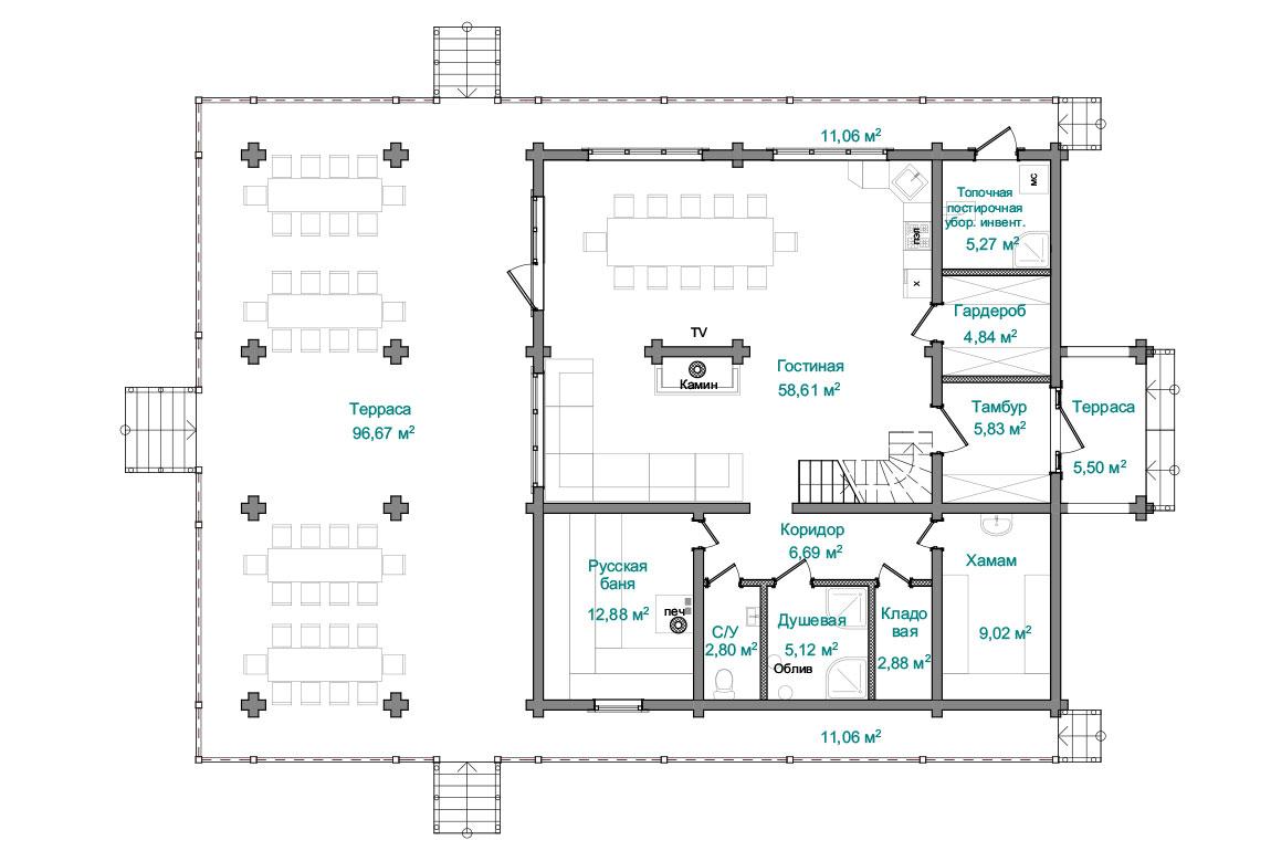 Планировка 1 этажа бани из бруса с мансардой