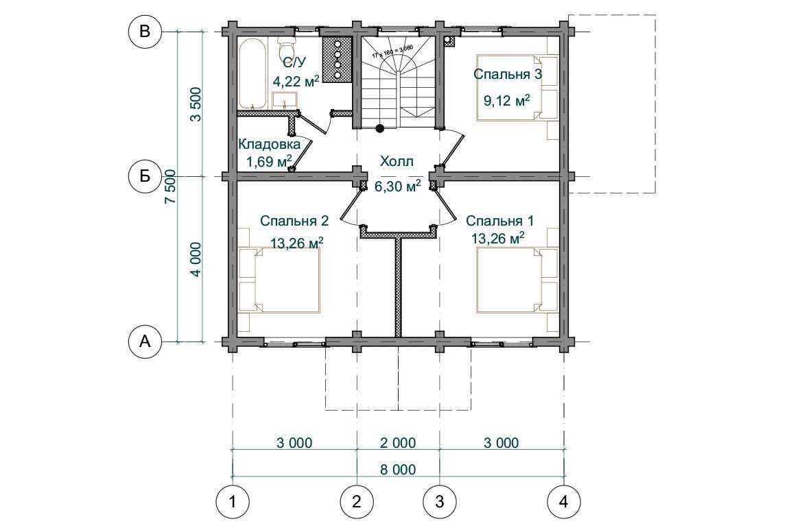 Планировка 2 этажа проекта дома 7 на 8 с мансардой из бруса