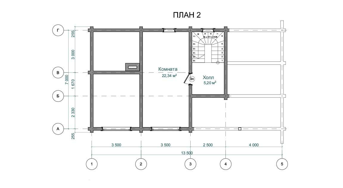 Планировка 2 этажа проекта бани с мансардой из бруса