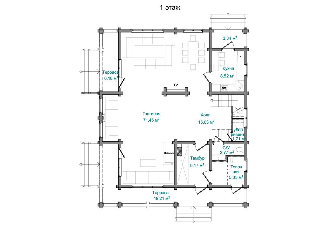 Планировка 1 этажа проекта двухэтажного дома с террасой