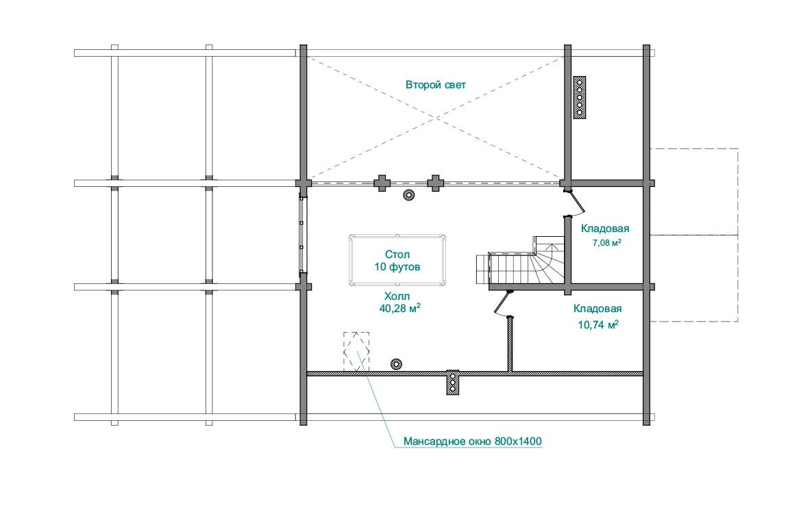 Планировка 2 этажа бани из бруса с мансардой