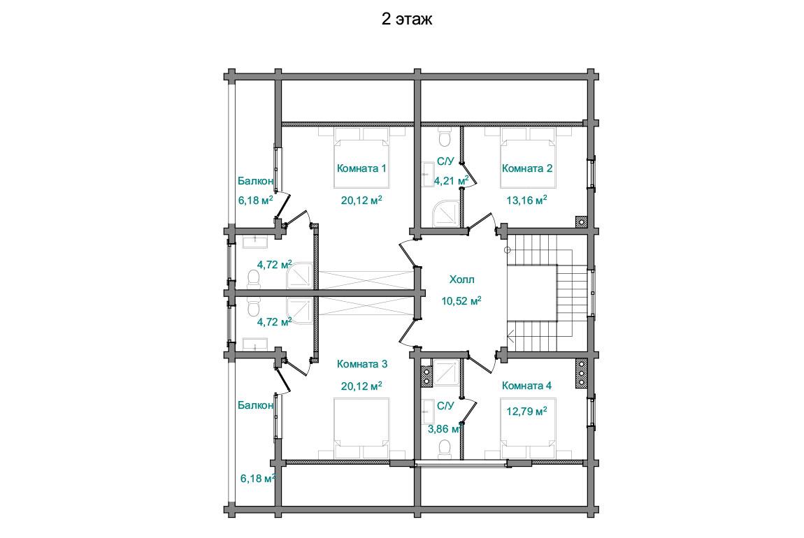 Планировка 2 этажа проекта двухэтажного дома с террасой