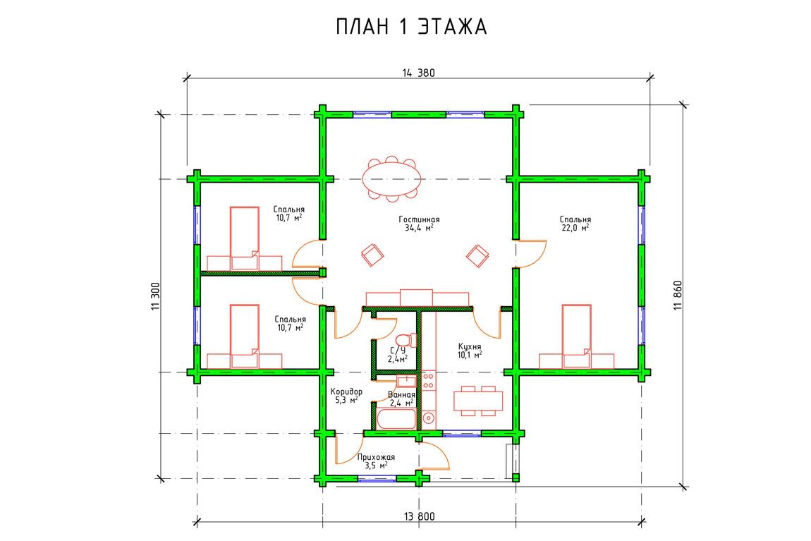 Планировка 1 этажа проекта дачного домика из бруса