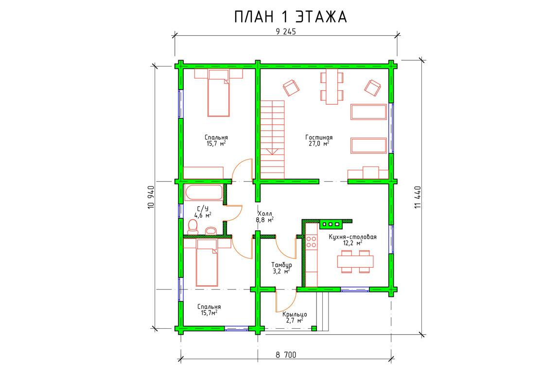 Планировка 1 этажа проекта коттеджа с мансардой из бруса