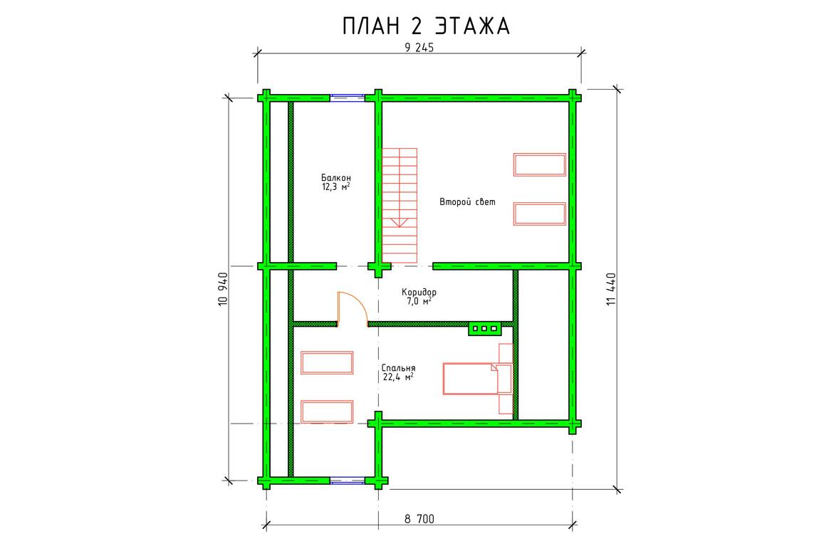Планировка 2 этажа проекта коттеджа с мансардой из бруса