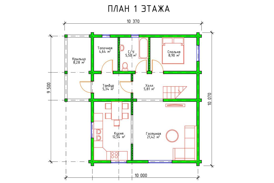 Планировка 1 этажа дома из бруса с мансардой