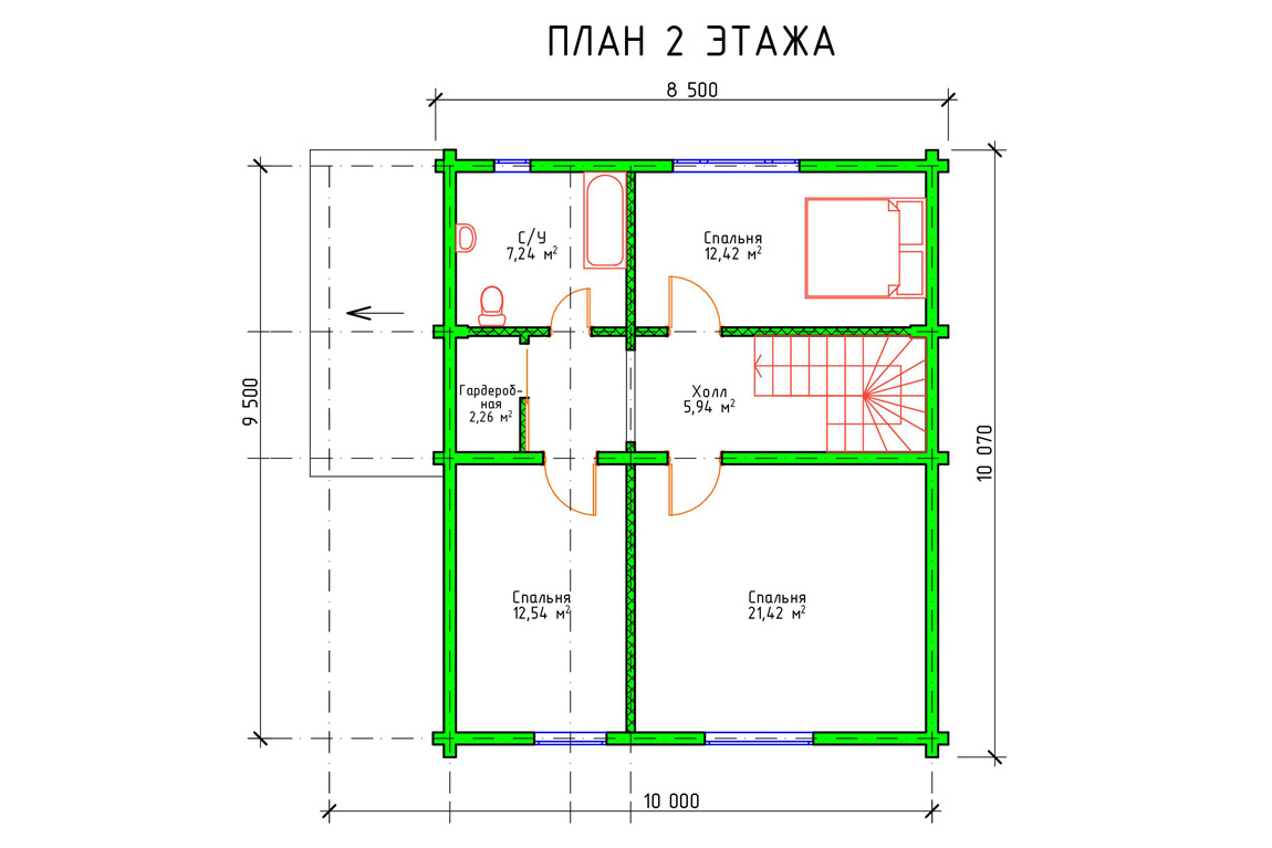 Планировка 2 этажа дома из бруса с мансардой