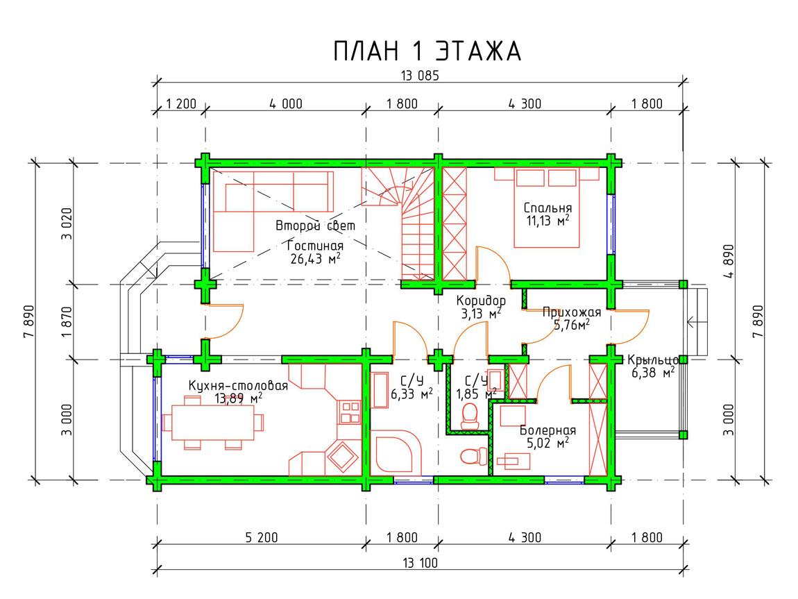 Планировка 1 этажа двухэтажного деревянного дома из бруса