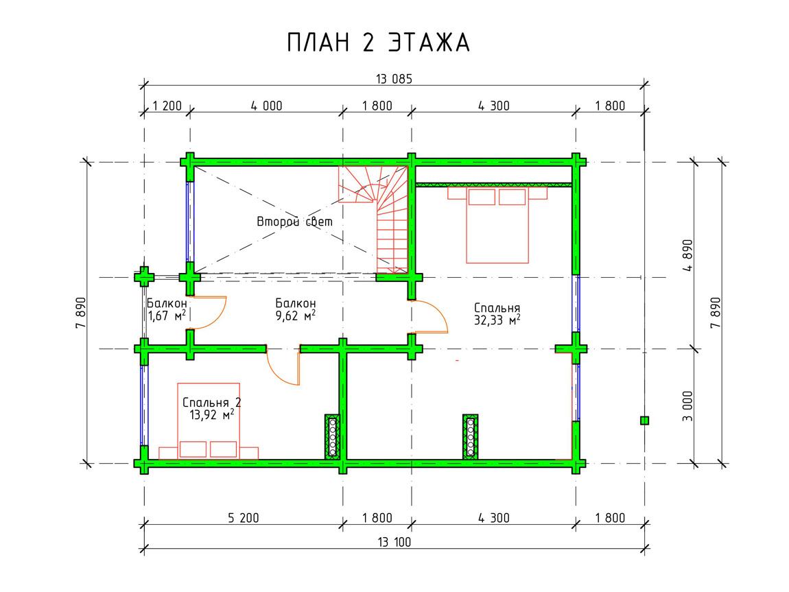 Планировка 2 этажа двухэтажного деревянного дома из бруса