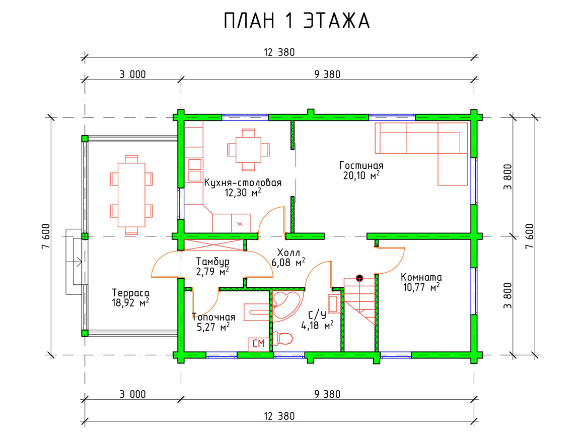 Планировка 1 этажа дома с мансардой