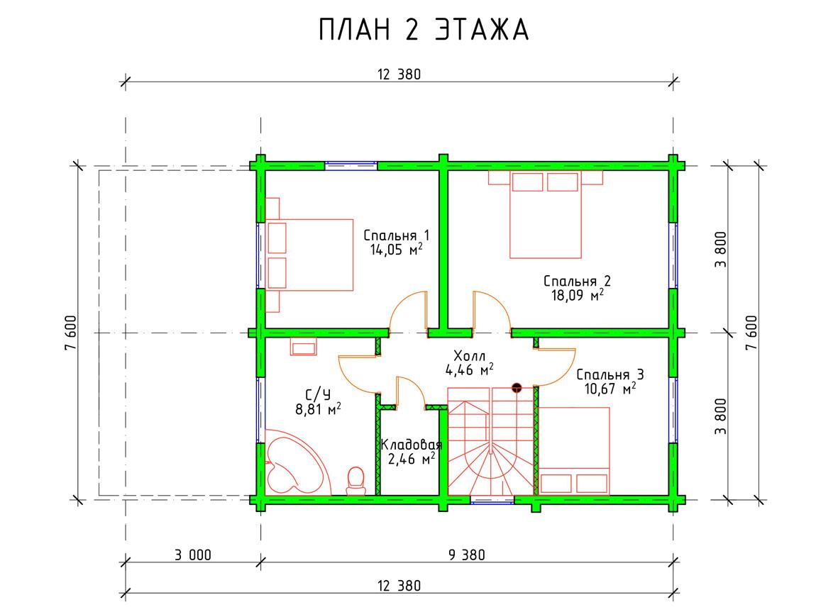 Планировка 2 этажа дома с мансардой