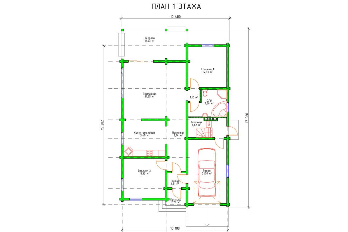 Планировка 1 этажа проекта одноэтажного дома с гаражом и террасой