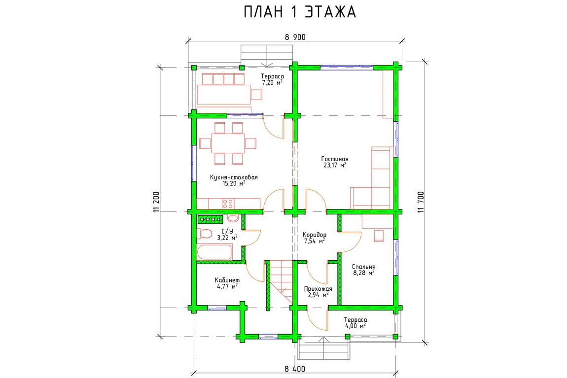 Планировка 1 этажа дома с мансардой и балконом из бруса