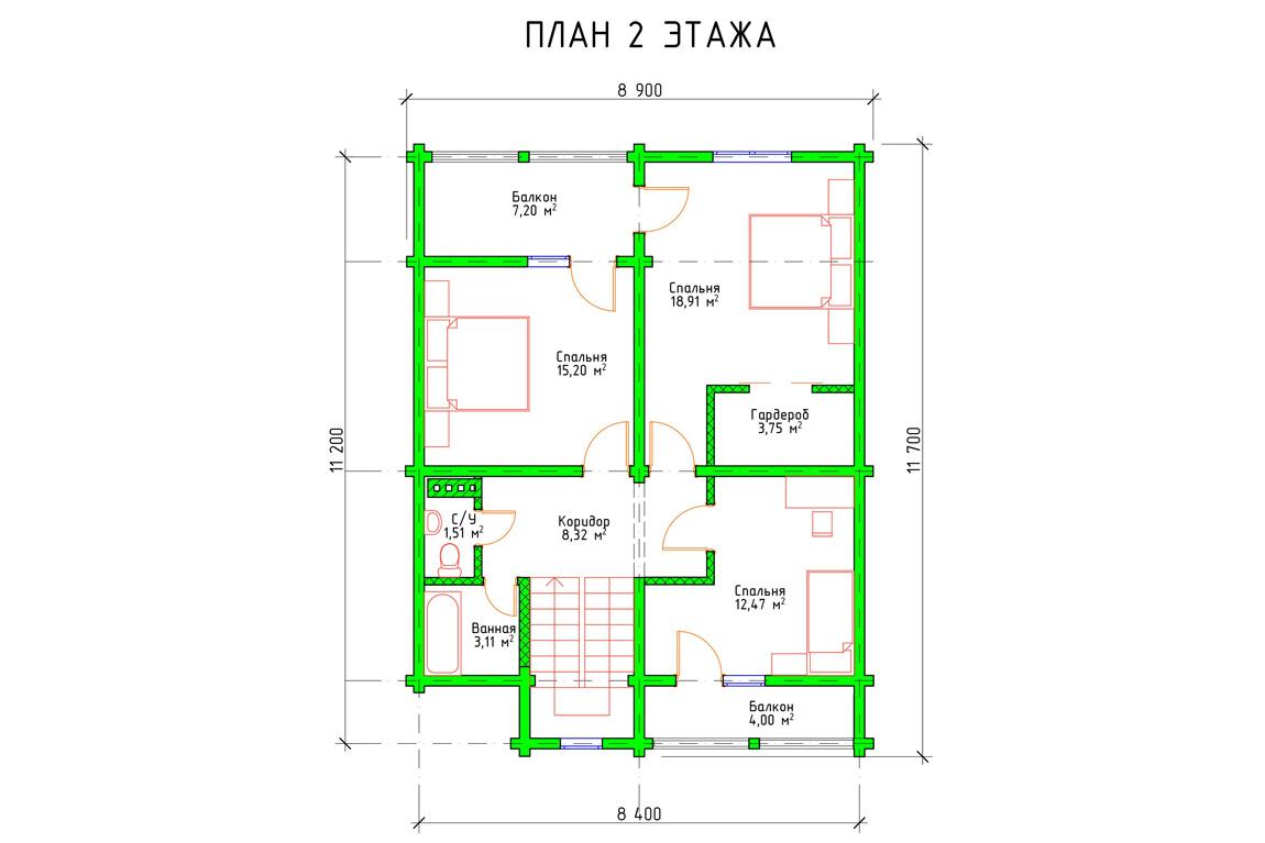 Планировка 2 этажа дома с мансардой и балконом из бруса
