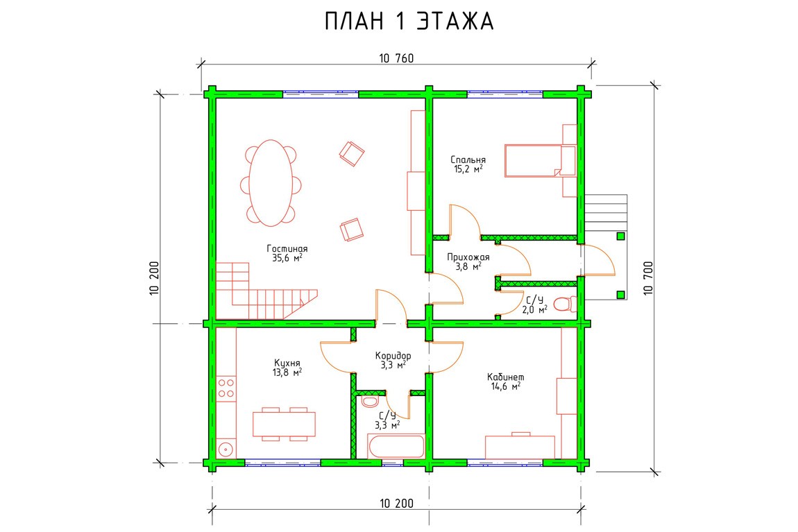 План 1 этажа дома с мансардой из бруса