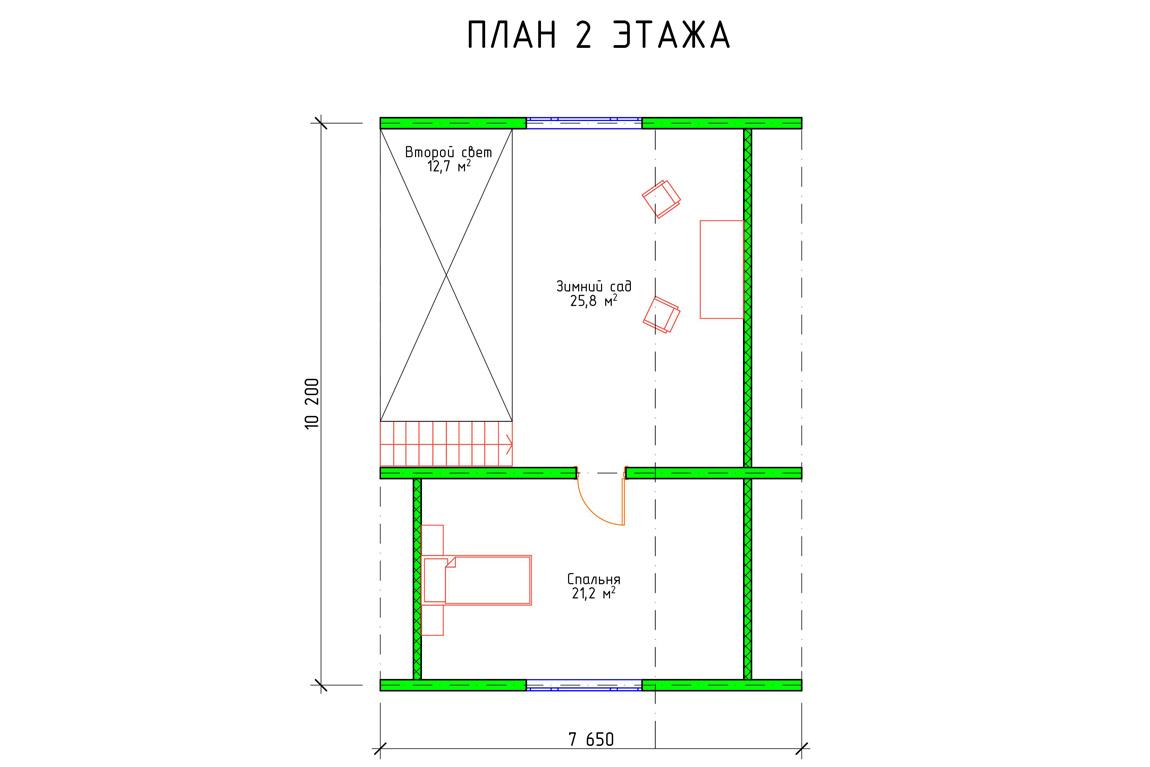 План 2 этажа дома с мансардой из бруса
