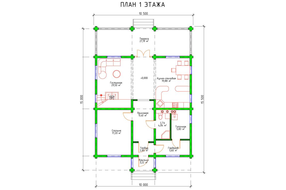 Планировка 1 этажа проекта дома с мансардой и террасой