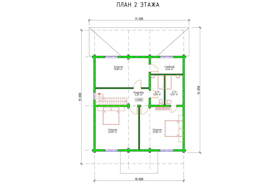 Планировка 2 этажа проекта дома с мансардой и террасой
