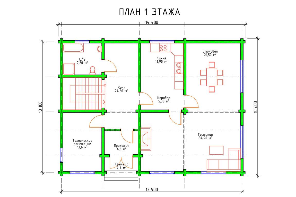 Планировка 1 этажа проекта двухэтажного дома с мансардой