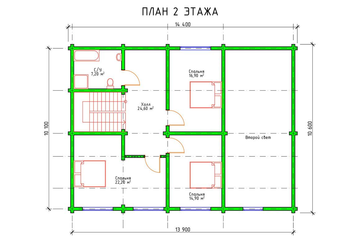 Планировка 2 этажа проекта двухэтажного дома с мансардой