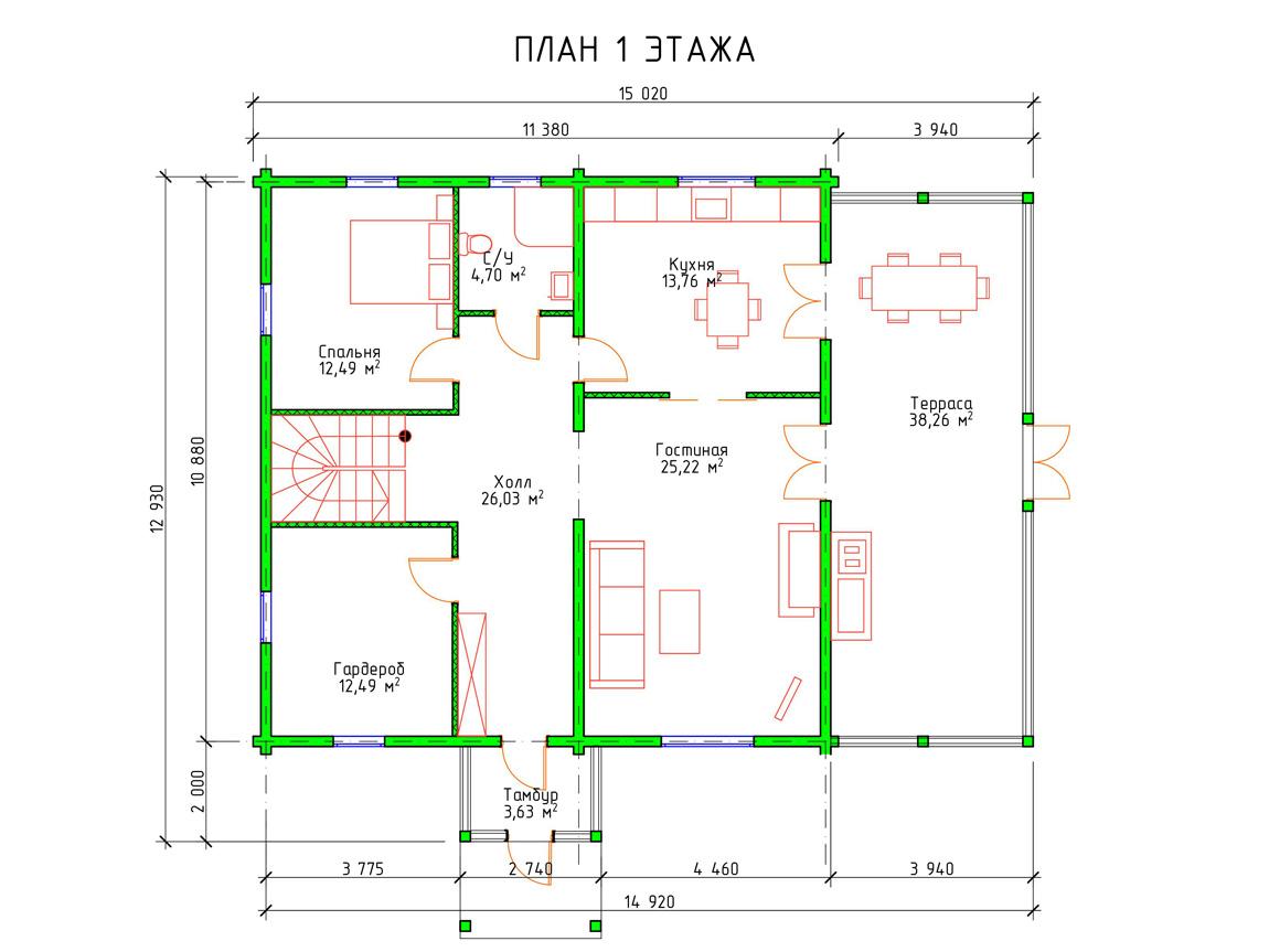 Планировка 1 этажа проекта шале из клееного бруса