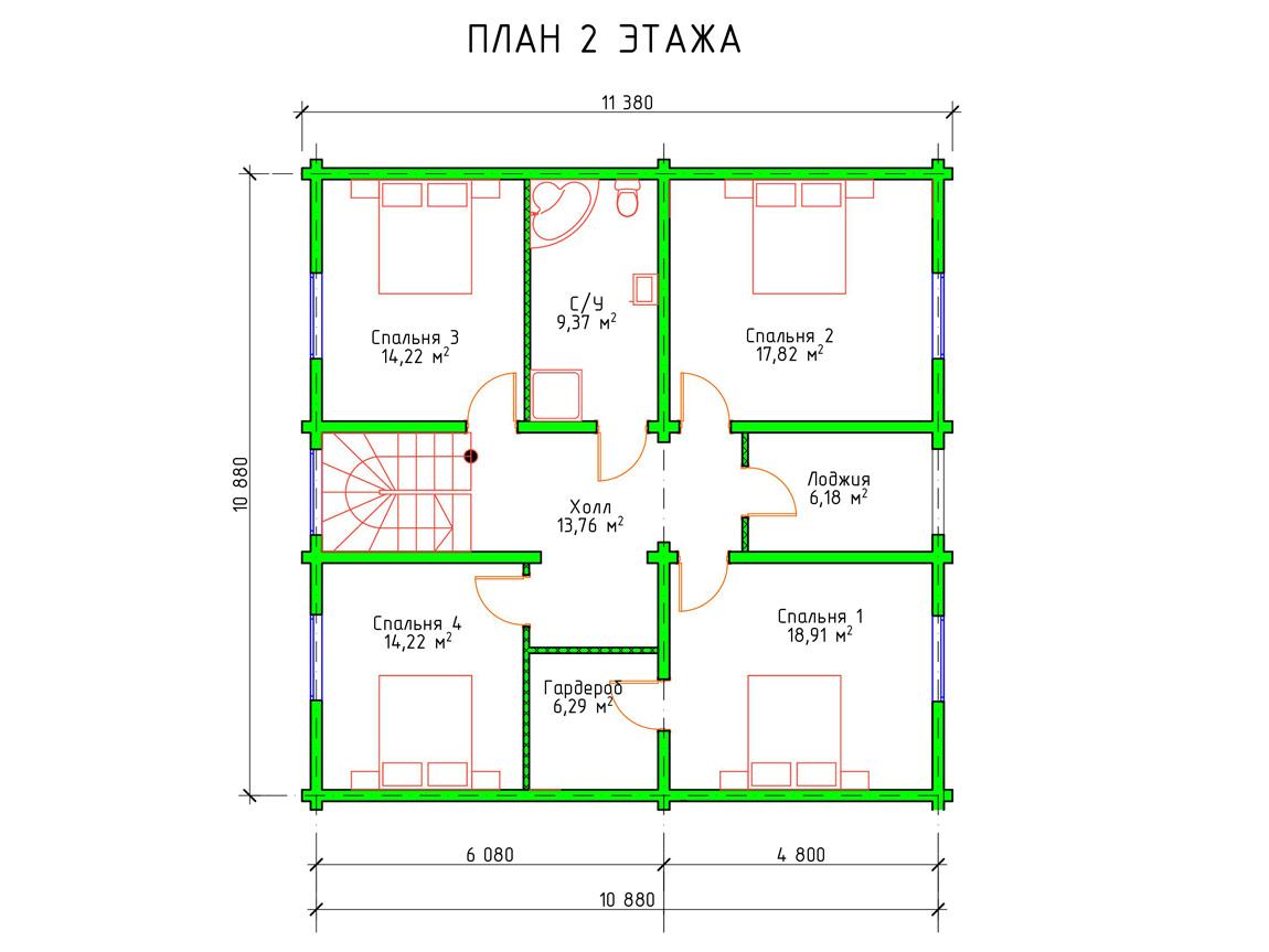 Планировка 2 этажа проекта шале из клееного бруса