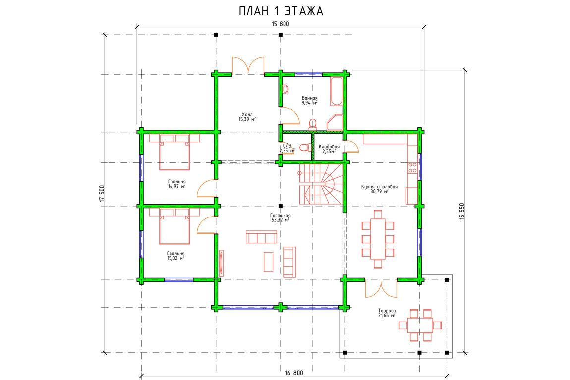 Планировка 1 этажа двухэтажного дом с мансардой из бруса