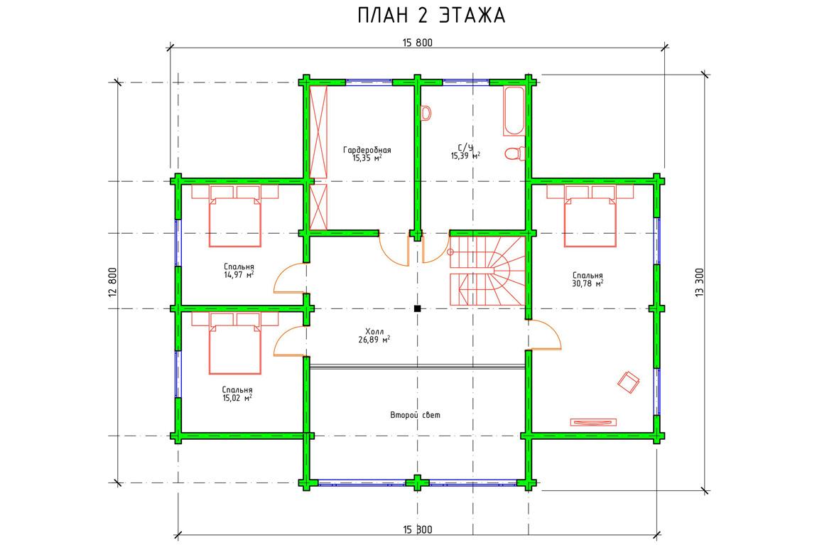 Планировка 2 этажа двухэтажного дом с мансардой из бруса