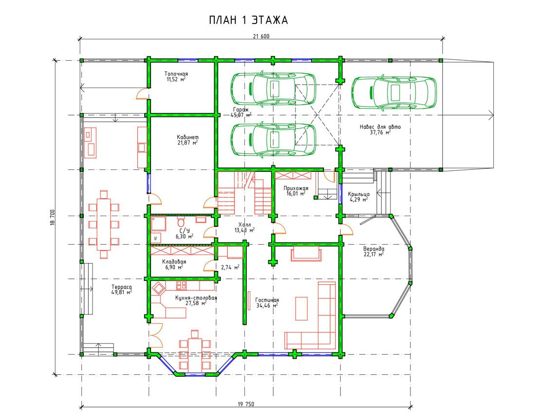 Планировка 1 этажа проекта двухэтажного дома с гаражом из бруса