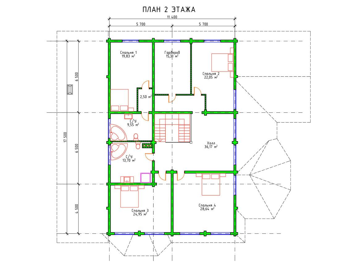 Планировка 2 этажа проекта двухэтажного дома с гаражом из бруса
