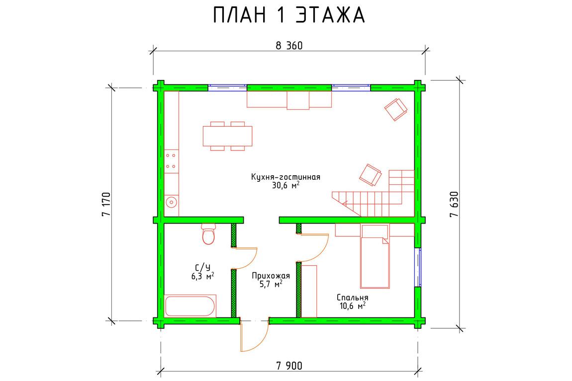 План 1 этажа частного дома с мансардой из бруса