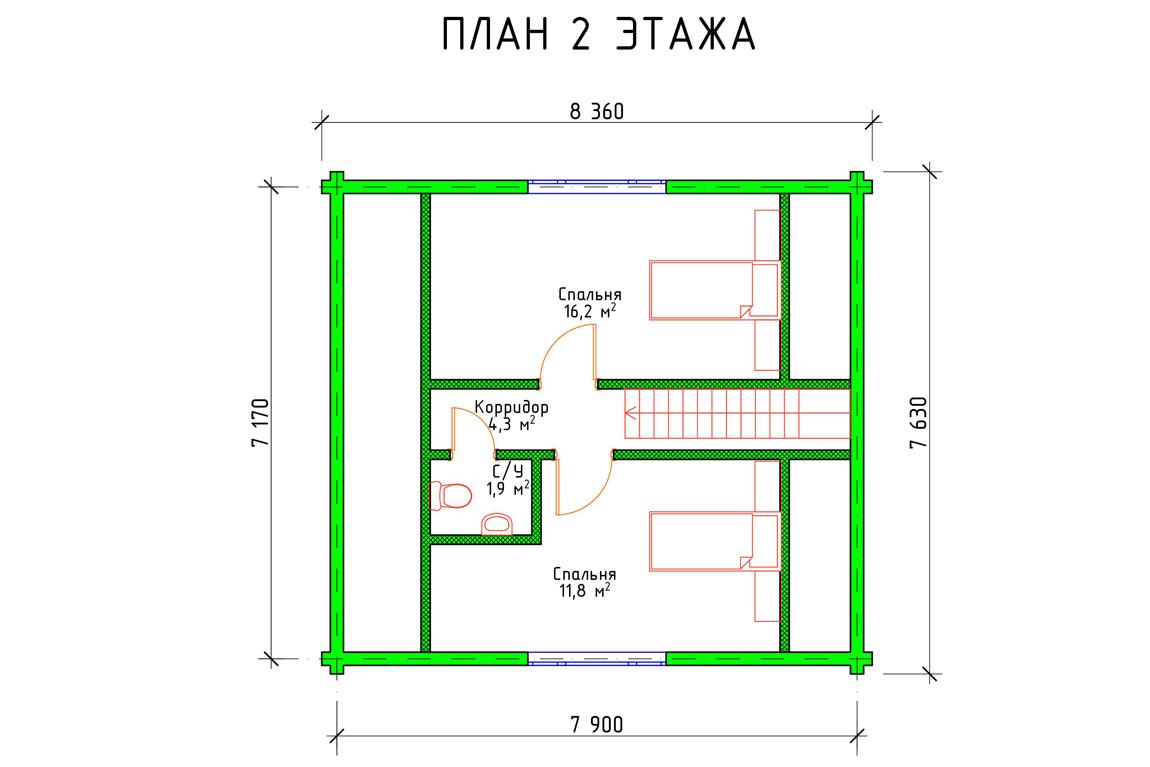 План 2 этажа частного дома с мансардой из бруса