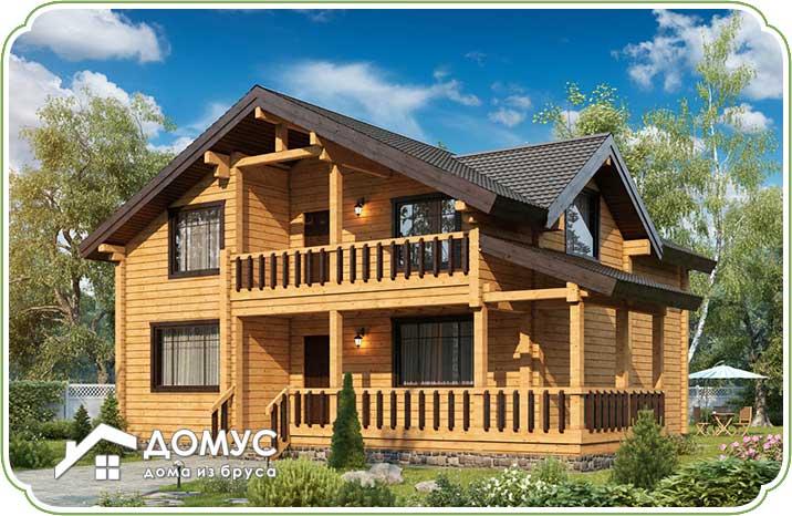 Дом с балконом и террасой из клееного бруса