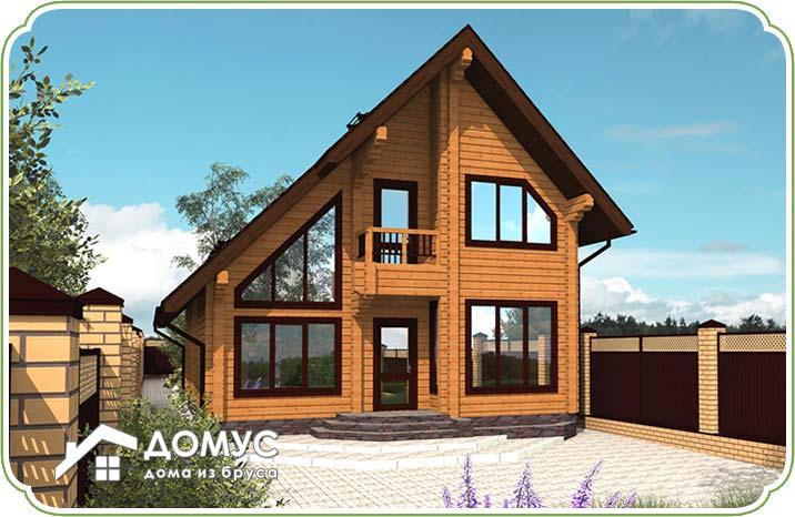 Двухэтажный деревянный дом из бруса