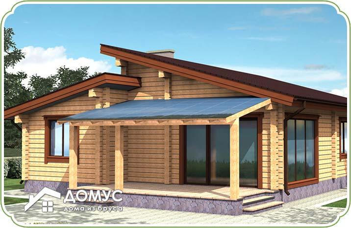 Проект одноэтажного дома с гаражом и террасой из бруса