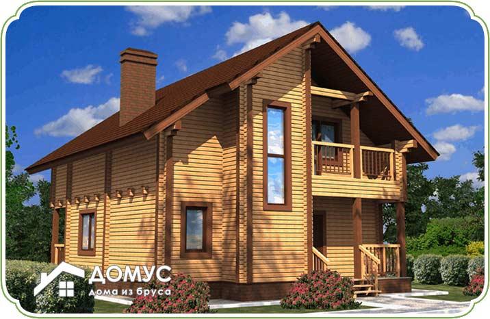 Дом с мансардой и балконом из бруса