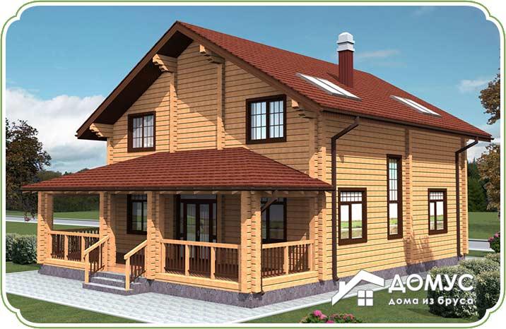 Проект дома с мансардой и террасой