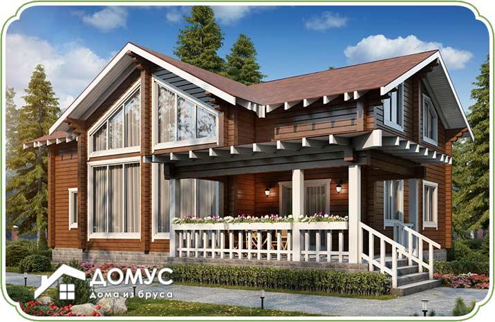 Двухэтажный дом с мансардой из бруса